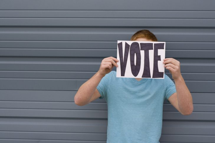 "A young person holds a sign that says ""VOTE"" in front of their face."